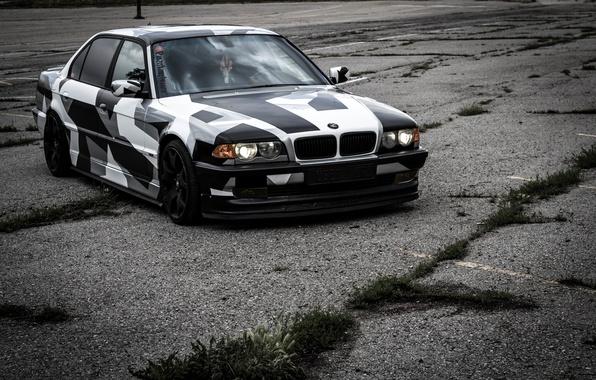 Picture BMW, BMW, winter, Alpina, E38, 740il, arctic camo, camo, Tying