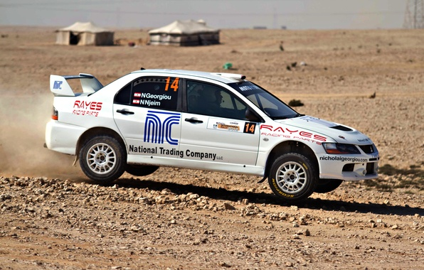 Picture race, White, Sport, Desert, Day, Mitsubishi, Lancer, WRC, Rally, Rally, Lancer, Side view