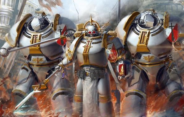 Picture space marine, fan art, grey knights, warhammer 40K, imperium, hammk, halberd, chaplain