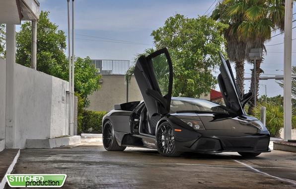 Picture door, black, lamborghini, drives, black, Lamborghini, murcielago, Murcielago, guillotine