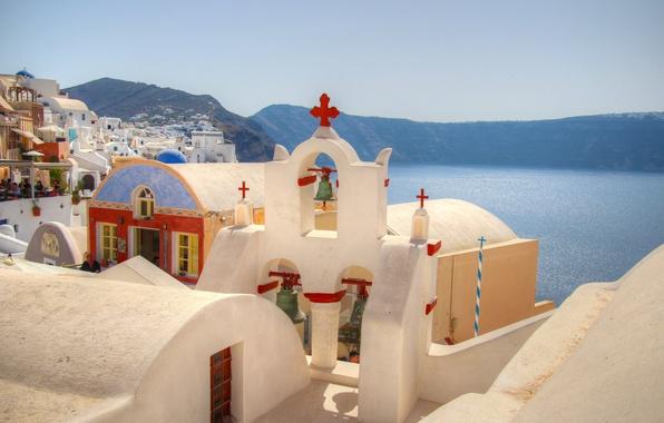 Picture sea, the sky, mountains, home, Santorini, Greece, Church