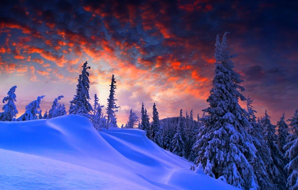 Picture winter, the sky, clouds, snow, landscape, nature, mountain, white, sky, landscape, nature, sunset, winter, snow, …