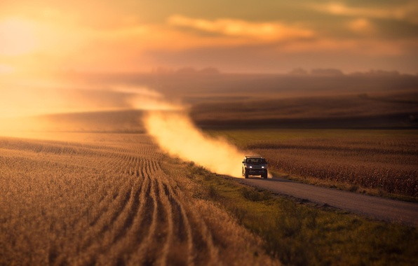 Picture road, machine, grass, light, sunset, nature, Field, dust