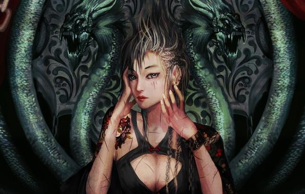 Picture girl, patterns, dragons, tattoo, art, cuts, tattoo, wounds, genki-de