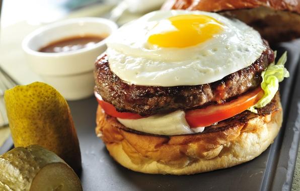 Photo wallpaper Fast food, burgers, roll, fast food, sandwich, tomato, egg, hamburger
