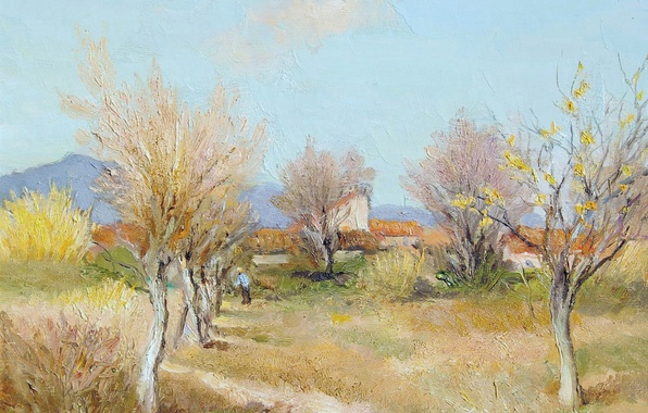 Picture trees, landscape, mountains, picture, spring, Marseille Dif, An Orchard in Spring