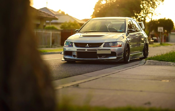 Picture Mitsubishi, Lancer, Car, Grass, Front, Sun, Stance, Evo IX, Evolution 9, Ligth