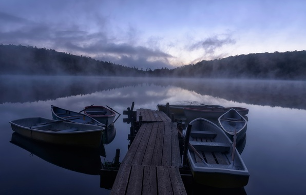 Picture lake, boats, morning, pier