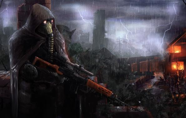 Picture the storm, house, weapons, rain, fire, flame, ambush, destruction, soldiers, cloak, stalker, Stalker, with.t.and.l.to.e.r., ambush