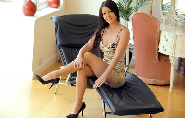 Picture girl, smile, chair, stockings, dress, brunette, legs, sitting, melissa, lexa, kristina