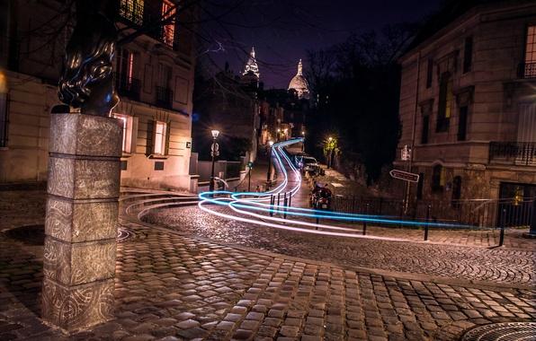 Picture road, night, lights, movement, France, Paris, home, excerpt, lights, bridge, street