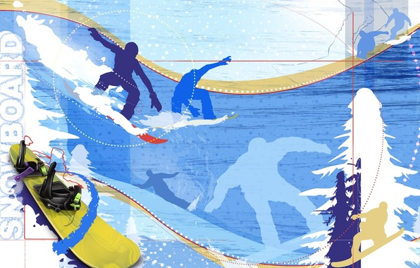 Picture winter, snow, abstraction, Wallpaper, snowboard, the descent, tree, speed, spruce, vector, silhouette, Board, snowboard