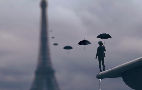 Picture roof, drops, rain, Paris, umbrella, male
