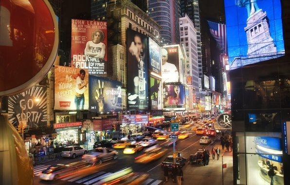 Picture machine, night, skyscrapers, Times Square at Night, New York