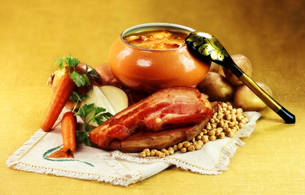 Picture bow, peas, spoon, meat, carrots, pot, potatoes, stew