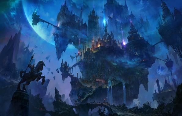 Picture rays, bridge, fiction, rocks, planet, trail, fantasy, art, tower, rider, fortress, the citadel, locks, Bastion, …