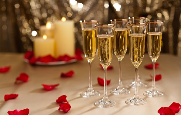 Picture holiday, rose, candles, petals, glasses, champagne, red