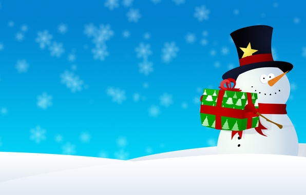 Picture snow, snowflakes, graphics, new year, Christmas, snowman, christmas, new year