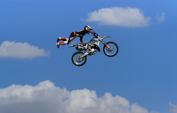 Picture the sky, clouds, jump, motorcycle, male, motocross