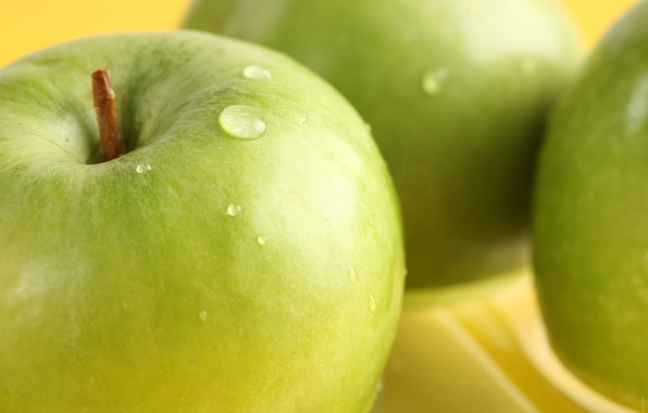 Picture water, drops, macro, apples, green