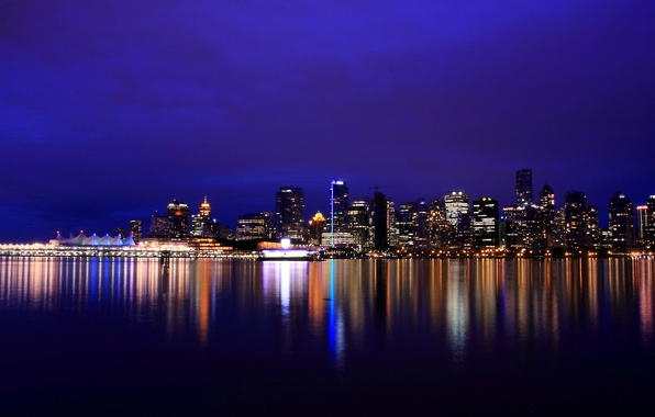 Picture night, lights, lights, reflection, river, skyscrapers, backlight, Canada, Vancouver, Canada, British Columbia, river, reflection, Vancouver, …