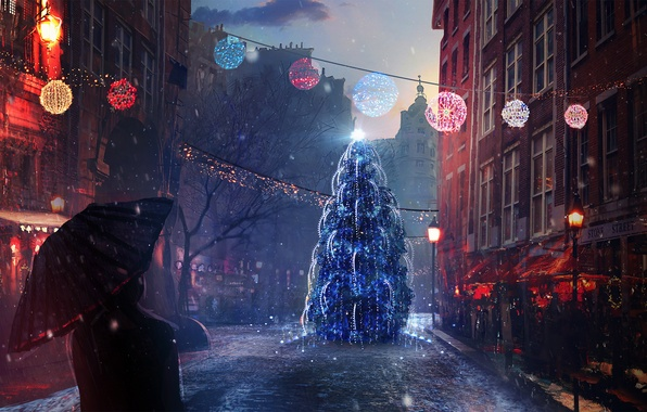 Picture snow, mood, holiday, street, people, tree, new year, Christmas, the evening, art
