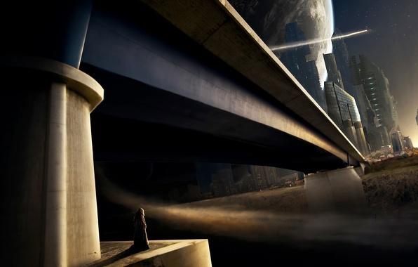 Picture the sky, bridge, the city, planet