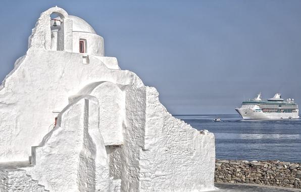 Picture sea, the sky, ship, Greece, Church, liner, Mykonos island