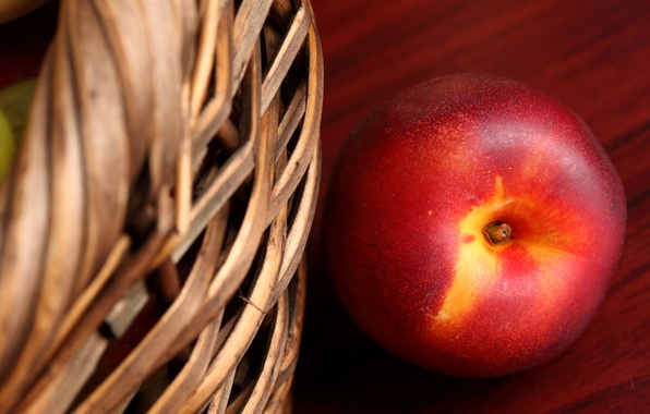 Picture macro, table, basket, fruit, peach, nectarine