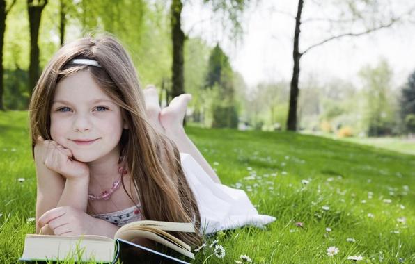 Picture grass, trees, joy, happiness, children, childhood, Park, sweetheart, books, child, garden, blonde, grass, beautiful, happy, …