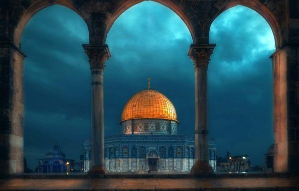 Picture night, mosque, architecture, the dome