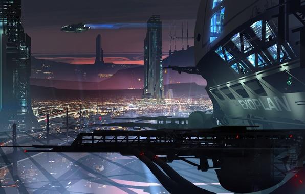 Picture sunset, the city, future, building, ships, art, megapolis, Ryan Gitter