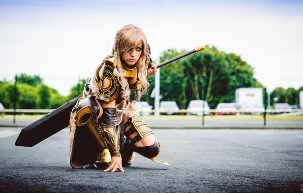 Picture girl, sword, armor, cosplay, Guild Wars, Jora