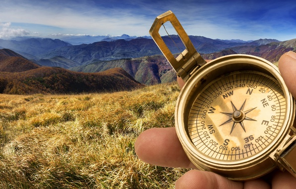 Picture grass, clouds, landscape, mountains, nature, blur, traveler, space, compass, forest, bokeh, direction, composition, compass, travel, …