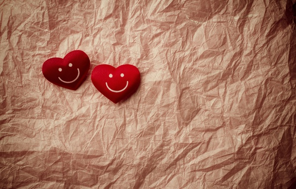 Picture smile, background, mood, heart, smile, hearts, widescreen, full screen, HD wallpapers, crumpled paper