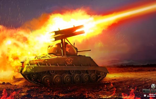 Picture night, fire, flame, figure, art, sparks, volley, installation, World of Tanks, Sherman, rocket, Nikita Bolyakov, …