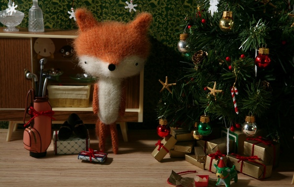 Picture holiday, toys, tree, new year, Fox, gifts, plush