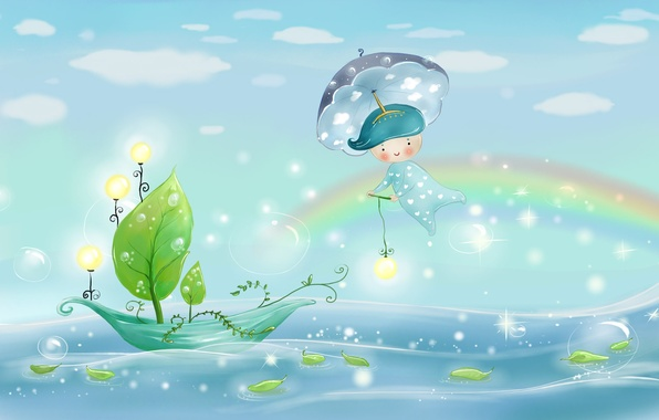 Picture sea, the sky, leaves, water, light, nature, bubbles, rain, boat, figure, rainbow, umbrella, boy, lights, …