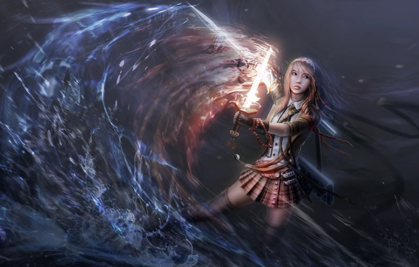 Picture water, girl, fire, magic, spear, Art, blade