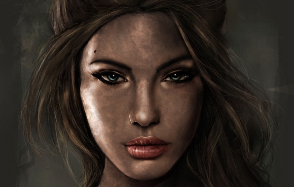 Picture look, girl, face, hair, portrait, art, Tomb Raider, Lara Croft