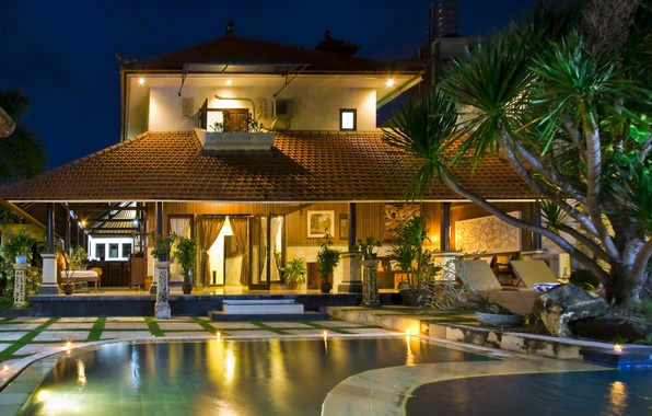 Picture house, tree, pool, pool, home, exterior, the loungers.