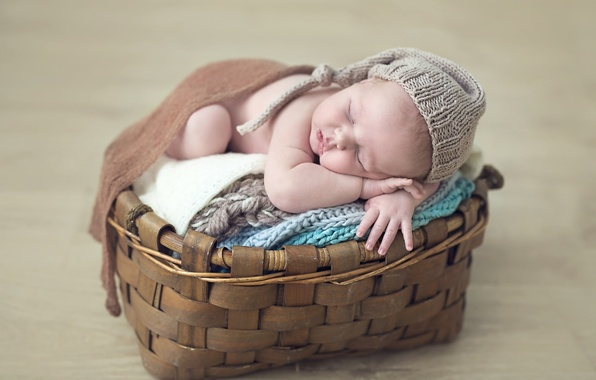 Picture basket, child, sleep, baby, cap, baby