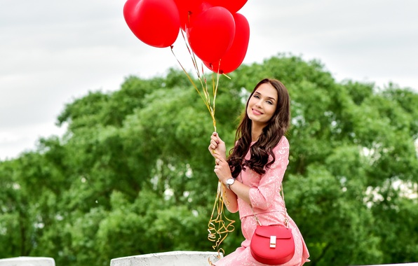 Picture girl, balls, trees, pink, makeup, brunette, hairstyle, costume, red, handbag, air, cute, keeps, the parapet, …
