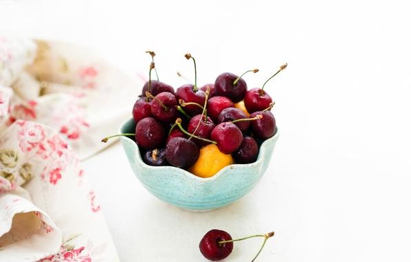 Picture cherry, berries, cherry, napkin, apricots, ramekin, Julia Khusainova