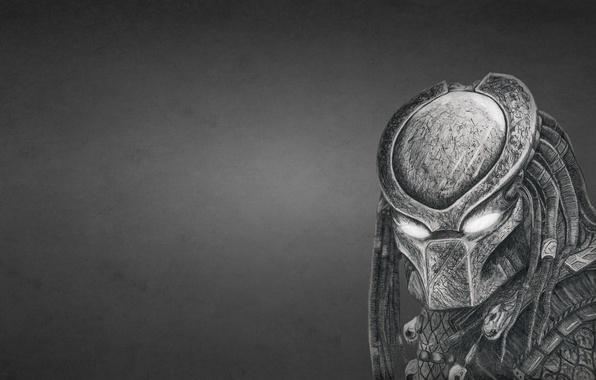 Picture the dark background, predator, alien, helmet, predator