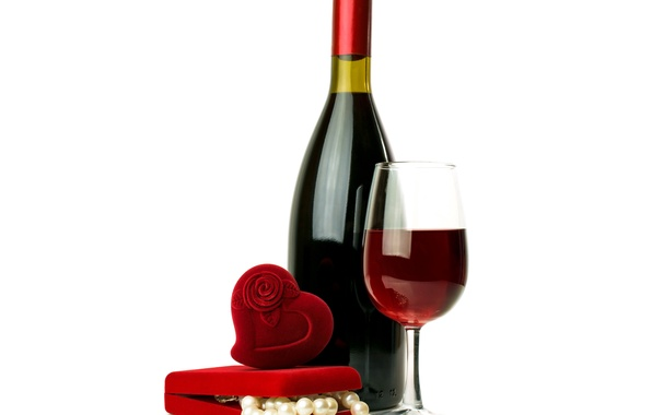 Picture gift, wine, heart, glass, bottle, love, box, heart, romantic, Valentine's day, gift