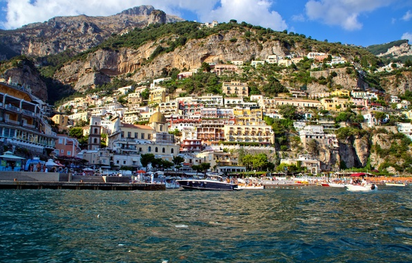 Picture sea, mountain, home, Bay, yacht, slope, Italy, Positano, Salerno