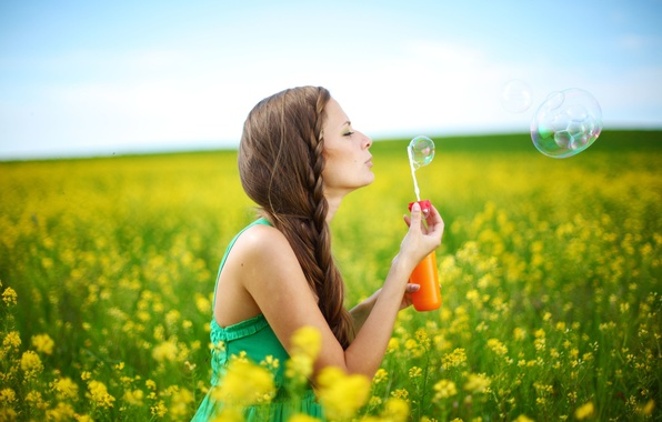 Picture summer, the sky, freedom, leaves, girl, trees, joy, happiness, flowers, yellow, nature, smile, background, tree, …