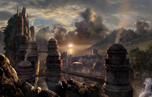 Picture landscape, mountains, the city, river, fiction, rocks, concept, fantasy, tower, City, fantasy, waterfalls, bridges, landscape, …