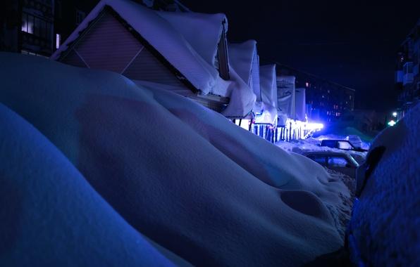 Picture winter, snow, machine, night, home, the snow, Anton Pechkurov